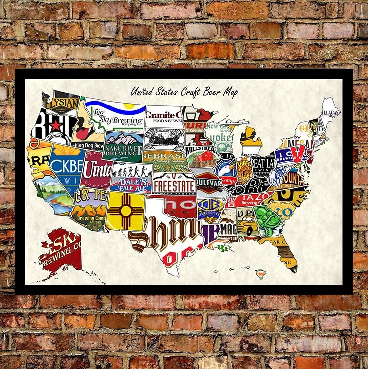Inspirations Us Map Wall Art Wall Art Ideas - Us beer map wall art