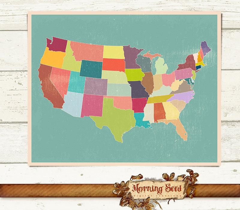 United States Map Wall Art 5 Size High Resolution Printables Inside United States Map Wall Art (Photo 1 of 20)