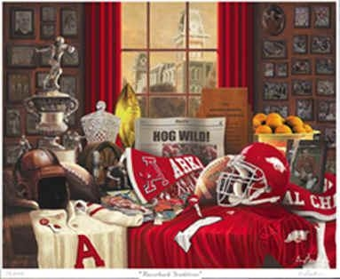 University Of Arkansas Razorback Traditions Art Print Regarding Razorback Wall Art (View 16 of 20)