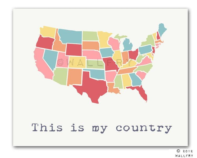 Usa Map. Kids Wall Art Us Map For Kids (Image 16 of 20)