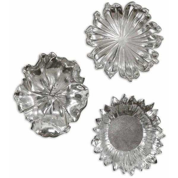 Uttermost Silver Flowers Wall Art (Set Of 3) – Free Shipping Today For Uttermost Metal Wall Art (Photo 18 of 20)