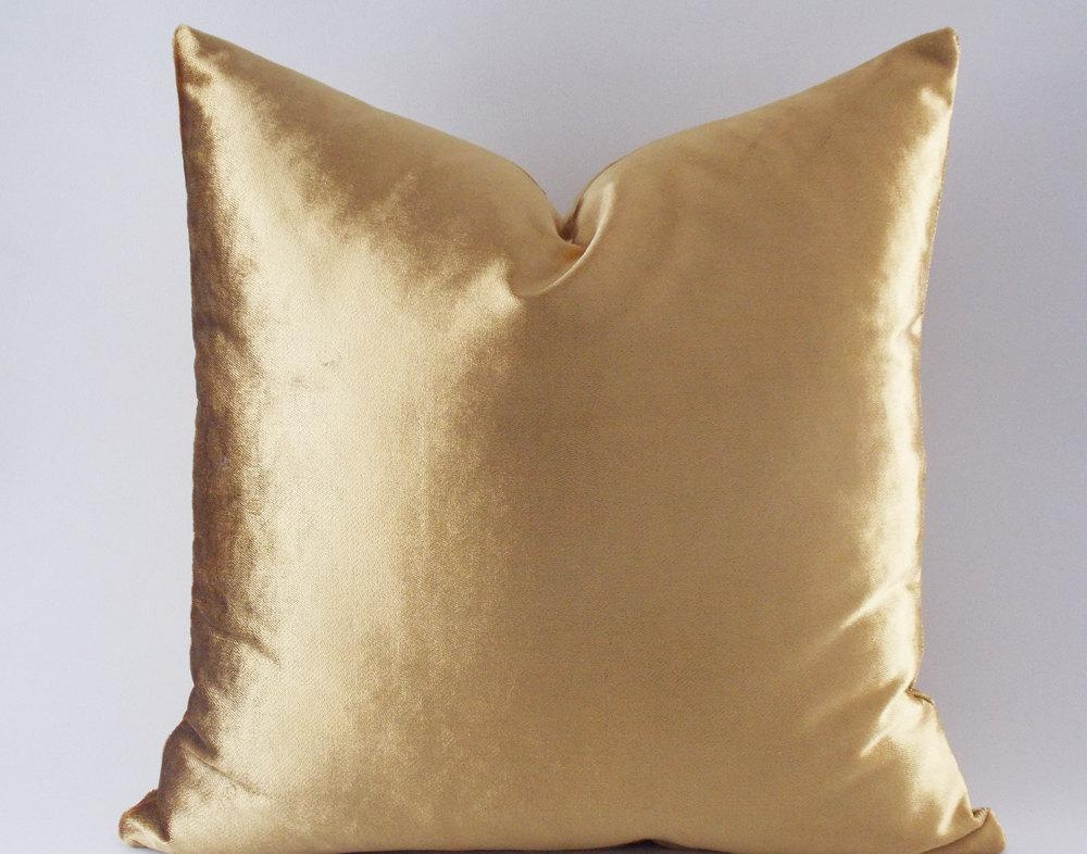 Velvet Solid Gold Pillow Covers Decorative Velvet Pillows With Regard To Gold Sofa Pillows (Image 20 of 20)