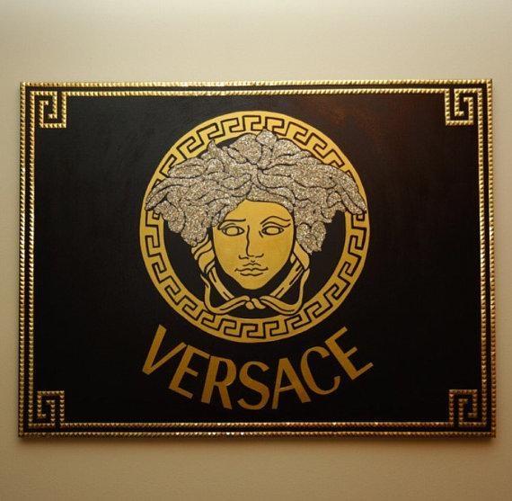 Versace Medusa Painting 40X30 Glitter & Studs Versace Inside Versace Wall Art (Image 13 of 20)