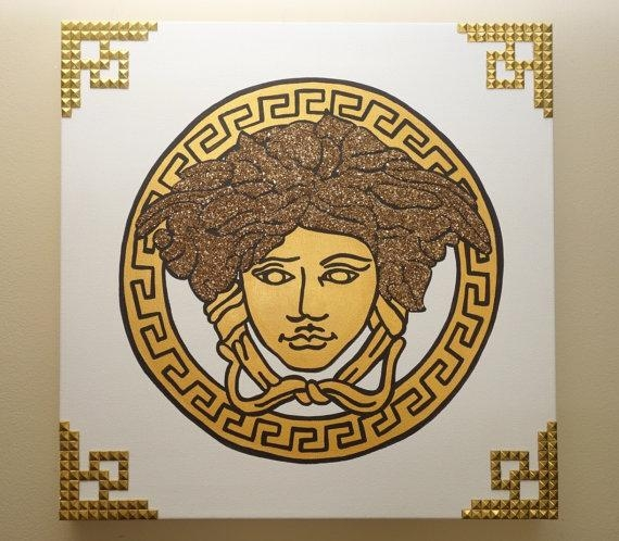 Versace Painting 20X20 Medusa Glitter & Rivets Pop Art Intended For Versace Wall Art (Image 16 of 20)