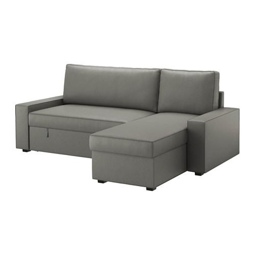 Vilasund Sofa Bed With Chaise Longue Borred Grey Green – Ikea Regarding Chaise Longue Sofa Beds (Image 20 of 20)