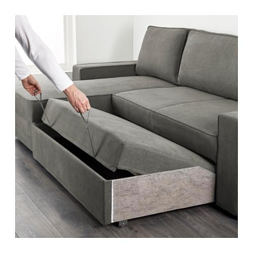 Vilasund Sofa Bed With Chaise Longue Borred Grey Green – Ikea Regarding Chaise Longue Sofa Beds (Image 19 of 20)
