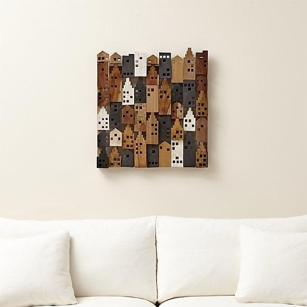 Village Wood Wall Art | Crate And Barrel Throughout Wood Wall Art (View 9 of 20)