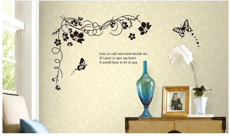 Vine Large Flower Wall Sticker Regarding Butterflies Wall Art Stickers (View 4 of 20)