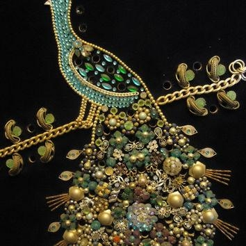 Vintage 1960's Rhinestone Peacock From Martinimermaid On Regarding Jeweled Peacock Wall Art (Image 19 of 20)