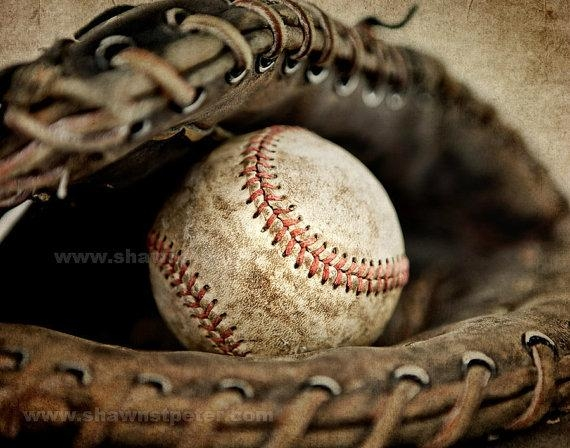 Vintage Baseball In Catchers Mit Photo Printdecorating Ideas With Regard To Vintage Baseball Wall Art (Image 16 of 20)