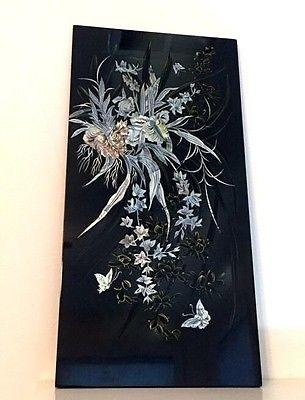 Vintage Black Lacquer Mother Of Pearl Inlaid Oriental Wall Art In Mother Of Pearl Wall Art (View 14 of 20)