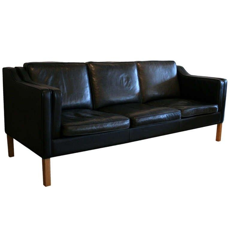 Vintage Black Leather Sofa At 1Stdibs Regarding Black Leather Sofas And Loveseats (Image 20 of 20)