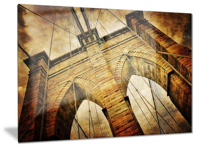 "Vintage Brooklyn Bridge"" Contemporary Glossy Metal Wall Art For Brooklyn Bridge Metal Wall Art (Image 10 of 20)"