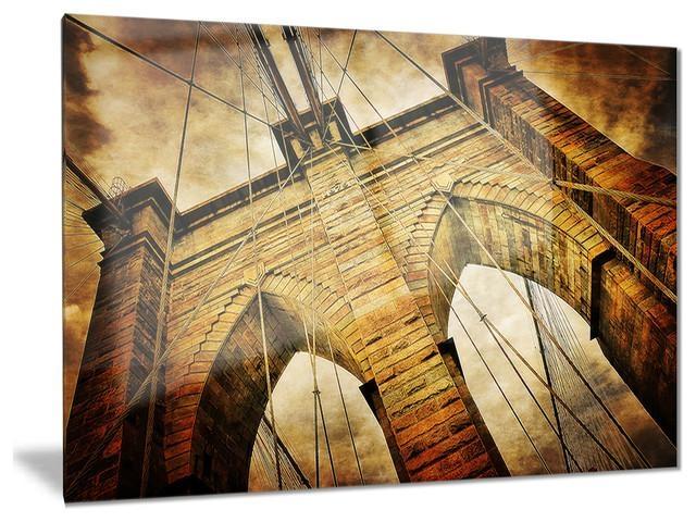 "Vintage Brooklyn Bridge"" Contemporary Glossy Metal Wall Art For Brooklyn Bridge Metal Wall Art (Photo 18 of 20)"