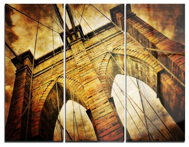 "Vintage Brooklyn Bridge"" Metal Wall Art, 3 Panels, 36""x28 Regarding Brooklyn Bridge Metal Wall Art (Image 11 of 20)"