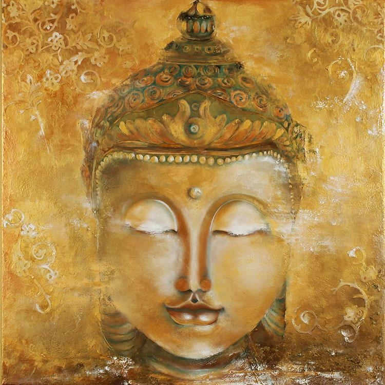 Vintage Buddha Photo Wallpaper 3D Custom Wallpaper Oil Painting Pertaining To 3D Buddha Wall Art (Image 19 of 20)