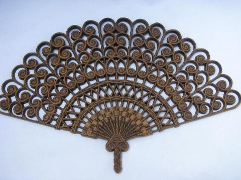 Vintage Burwood Plastic Wall Art Hanging Plaque, Large 'rattan' Fan Regarding Large Retro Wall Art (Image 17 of 20)