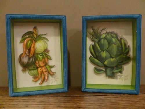 Vintage Decoupage Artichoke & Vegetables 3 D Wall Art, Pair Intended For Decoupage Wall Art (Image 19 of 20)