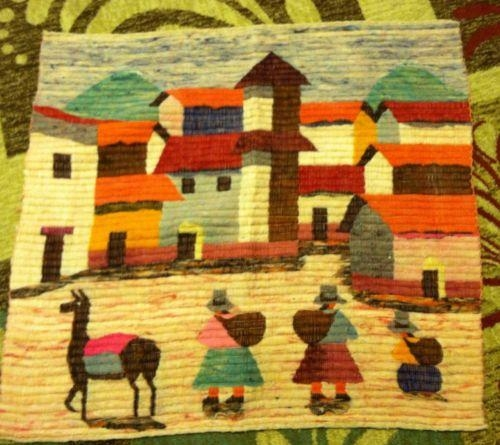 Vintage Folk Art Wool Woven South American Peruvian Tapestry Wall Regarding Peruvian Wall Art (Image 18 of 20)