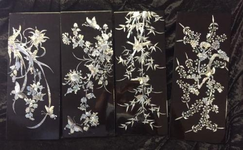 Vintage Japanese Shell Mother Of Pearl Wall Art Black Lacquer With Mother Of Pearl Wall Art (View 4 of 20)