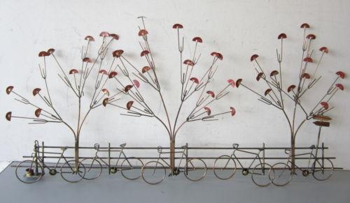 Vintage Metal Wall Art Hanging Sculpture Bicycles W/gingko Trees C With Regard To Bicycle Metal Wall Art (View 13 of 20)