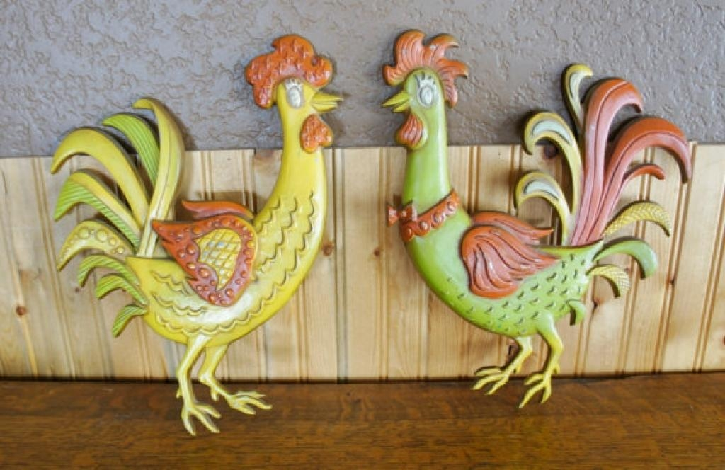 Vintage Midwest Metal Rooster Wall Hanging Vintageandoddities Within Metal Rooster Wall Decor (Image 16 of 20)