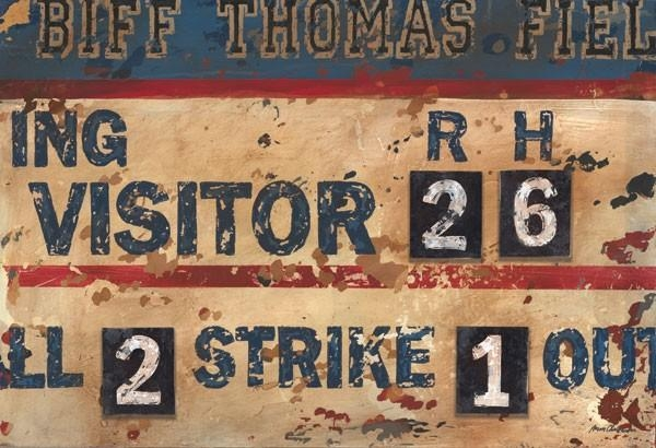 Vintage Navy & Cream Baseball Scoreboard Canvas Wall Art Intended For Vintage Baseball Wall Art (Image 17 of 20)
