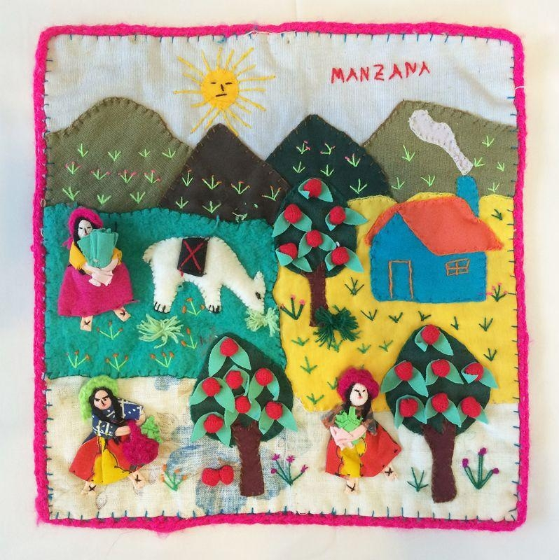 Vintage Peruvian Folk Art Applique Tapestry Wall Hanging, Manzana Intended For Peruvian Wall Art (Image 19 of 20)