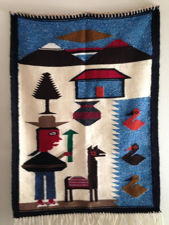 Vintage Peruvian Woven Colorful Wool Wall Hanging Rug Hand Pertaining To Peruvian Wall Art (Image 20 of 20)