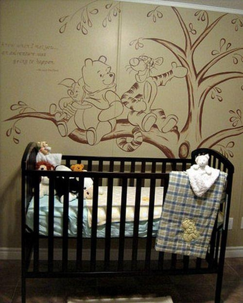 Vintage Winnie The Pooh Wall Murals |  Room Kids Bedroom Wall Inside Winnie The Pooh Wall Art For Nursery (Image 16 of 20)