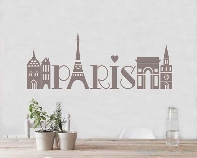 Vinyl Decals Silhouette Modern Wall Art Sticker Pertaining To Paris Vinyl Wall Art (Image 16 of 20)