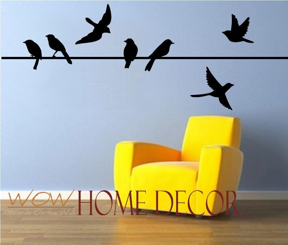 Vinyl Wall Art Decal Bird On A Wire Set. Bird Silhouette (Image 19 of 20)