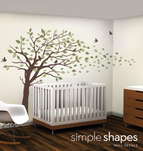 Vinyl Wall Art Decal Sticker – Blowing Leaves Tree – Large In Vinyl Wall Art Tree (View 2 of 20)