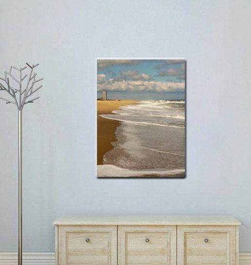 Virginia Beach Coastal Wall Art | Ocean Canvas Vertical Beach Home Art In Coastal Wall Art (Image 20 of 20)