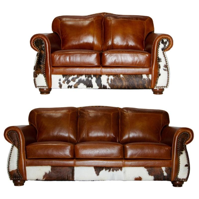 Von Furniture | Leathercowhide Rustic Sofa Set In Tan With Regard To Cowhide Sofas (View 16 of 20)