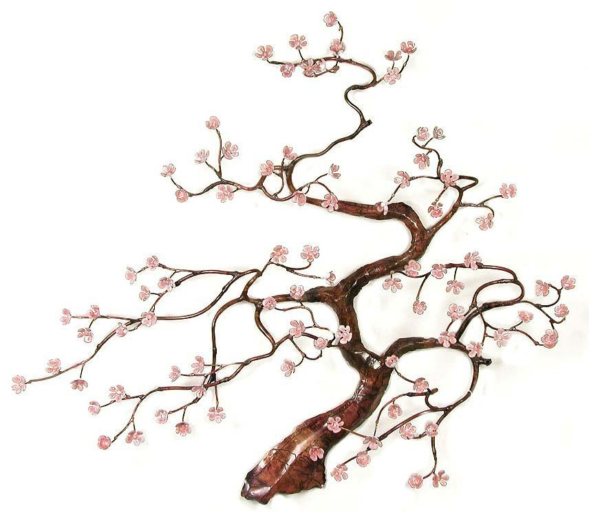W91Pink Flowering Blossom Tree Bovano Flowering Blossom Tree For Artisan House Metal Wall Art (View 9 of 20)