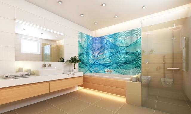 "Wall Art 24""x40"" 48""x96"" Glass & Frp Design – Contemporary With Regard To Contemporary Bathroom Wall Art (View 3 of 20)"