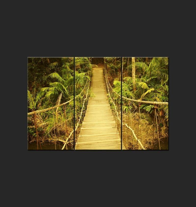 Wall Art – 3 Canvas Prints – Suspension Bridges Through Jungle Pertaining To Jungle Canvas Wall Art (Image 17 of 20)