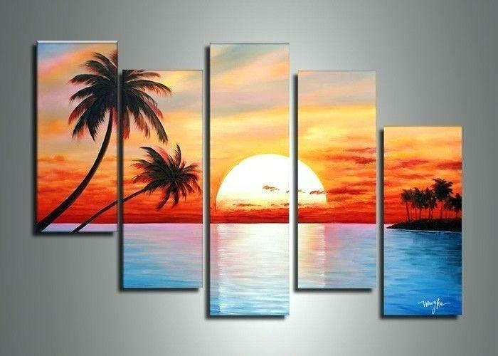 Wall Art ~ 7 Piece Canvas Art Target 5014 Handmade 5 Piece Blue In 7 Piece Canvas Wall Art (Image 7 of 20)