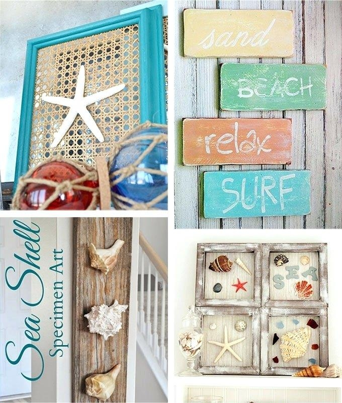 Wall Art ~ Beach Theme Vinyl Wall Art 29 Beach Crafts Coastal Diy With Beach Theme Wall Art (Image 17 of 20)