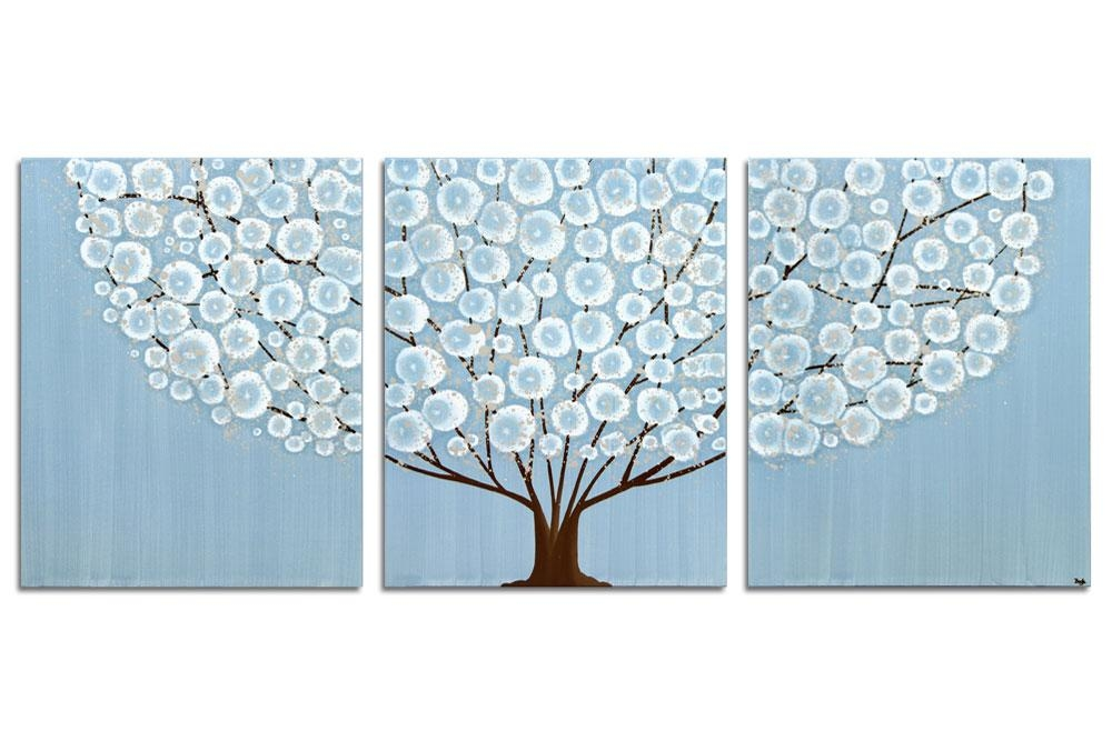 Wall Art Canvas Painting Of Tree In Blue And Brown – Large | Amborela With Turquoise And Brown Wall Art (View 9 of 20)