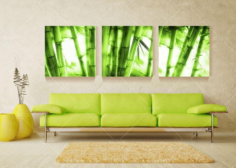 Wall Art Canvas Wall Painting Landscape Oil Paintings Green Bamboo With Green Canvas Wall Art (Image 18 of 20)