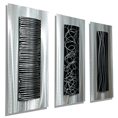 Wall Art ~ Contemporary Black Silver Abstract Metal Wall Art In Contemporary Bathroom Wall Art (View 20 of 20)
