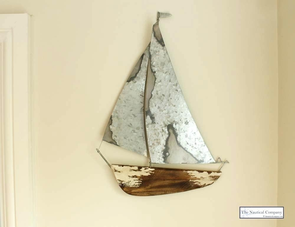 Wall Art ~ Copper Sailboat Wall Art Distressed Metal Yacht Wall Pertaining To Sailboat Metal Wall Art (Image 16 of 20)