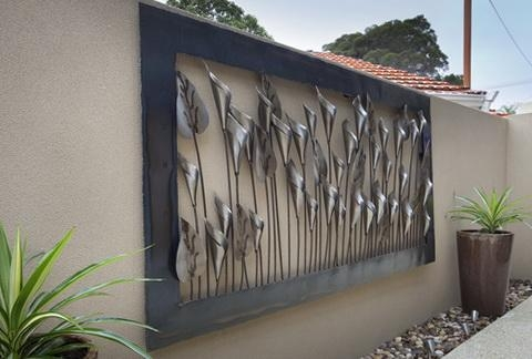 Wall Art Decor: Chrysanthemum Large Outdoor Wall Metal Art Wooden Within Contemporary Outdoor Wall Art (Image 16 of 20)
