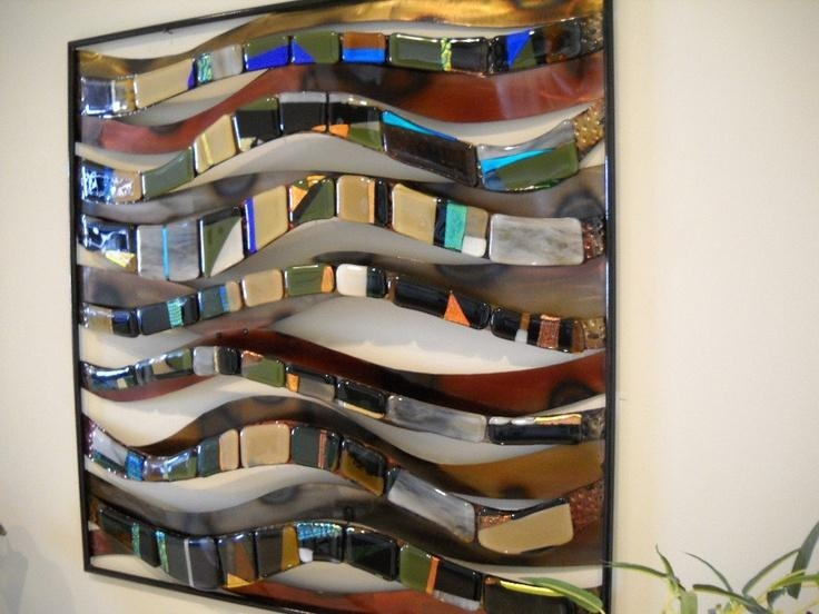Wall Art Decor: Fused Modern Glass And Metal Wall Art Pinterest For Glass Wall Artworks (View 10 of 20)