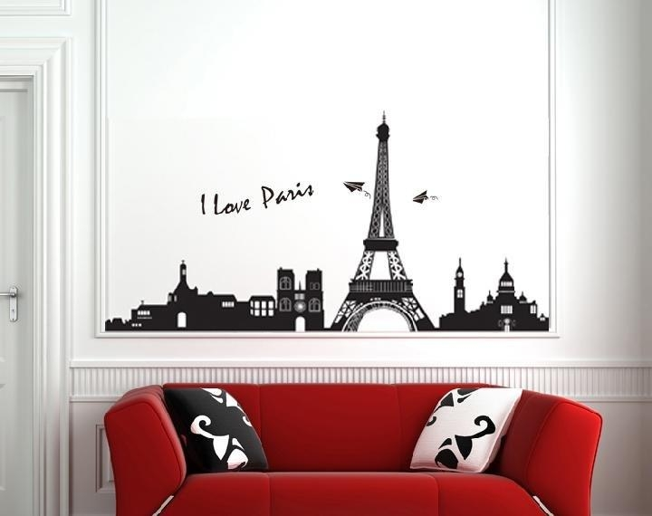 Wall Art Decor: Removable Eiffel Tower Wall Art Modern Wall In Eiffel Tower Wall Hanging Art (View 9 of 20)