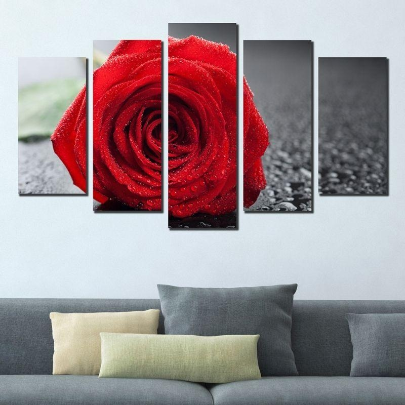 Wall Art Decoration (Set Of 5 Pieces) Red Rose Throughout Red Rose Wall Art (Image 19 of 20)