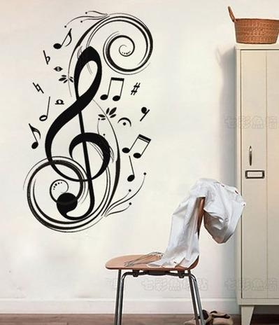 Wall Art Design Ideas: Fresh Music Notes Wall Art Decals 39 For Throughout Music Note Art For Walls (View 7 of 20)