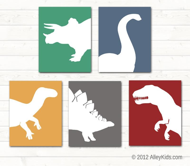 Wall Art Design Ideas: Monogram Colours Kids Dinosaur Wall Art Regarding Dinosaur Wall Art For Kids (View 10 of 20)